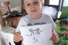 Philip Zdybik in 1st Class created this Mickey Mouse art after his virtual tour