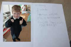 Ruairí Barry from Senior Infants with some creative writing for his Granny