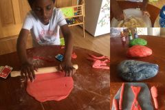 Samuel Panzu from Senior Infants experimenting with play dough